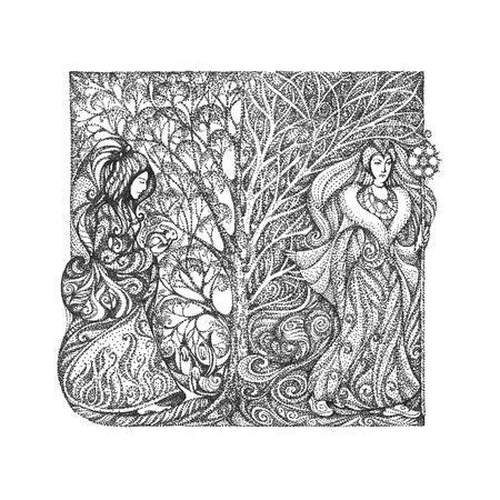 changing seasons: The concept of the changing seasons, the arrival of spring, winter care  Graphic drawing in the style of pointillism  Stock Photo