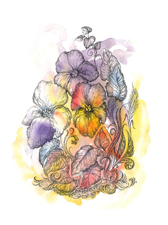 Handwritten drawing flowers pansies, watercolor, pointillism  photo