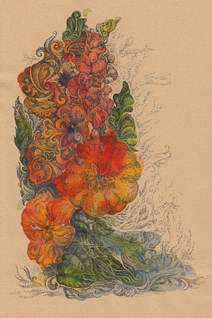 pointillism: Abstract background of handwritten flowers, watercolor on paper background, pointillism