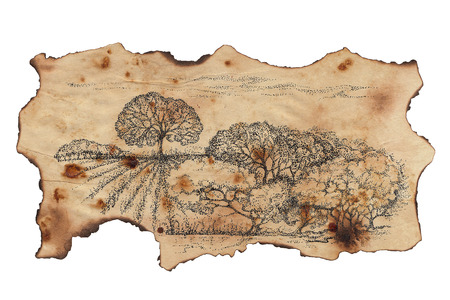 pastoral: Pastoral landscape painted on a scrap old charred paper  Handmade painting in the style of pointillism