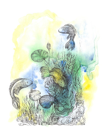 Abstract background with handwritten painted fish, underwater world and ornaments in the style of pointillism  photo