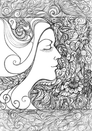 pointillism: Abstract graphic picture on the theme girls, flowers, floral ornaments  In the style of pointillism   Stock Photo