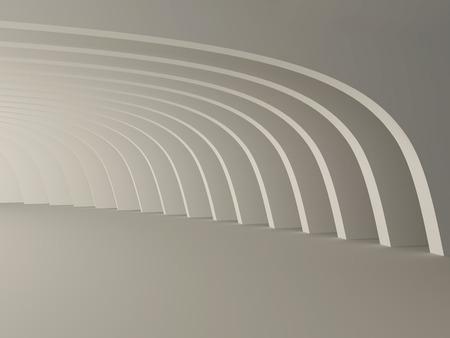 Abstract interior, light corridor with columns. 3D Stock Photo