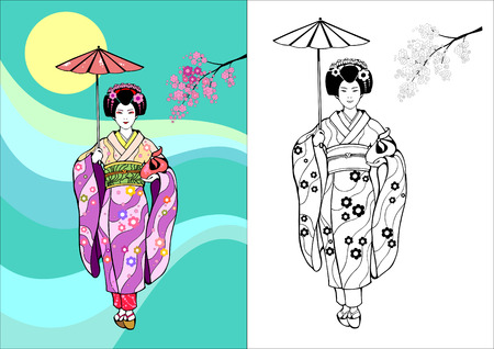 Japanese girl, geisha with umbrella on a background of the Sun and branches of sakura Çizim