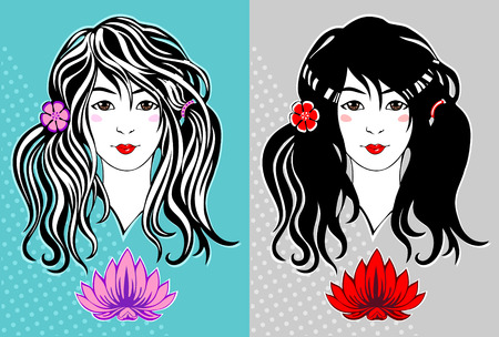 Beautiful young girl with long hair and a lotus flower Vector
