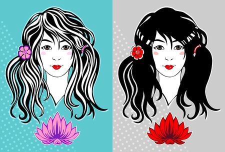 ragazza giovane bella: Bella ragazza con i capelli lunghi e un fiore di loto