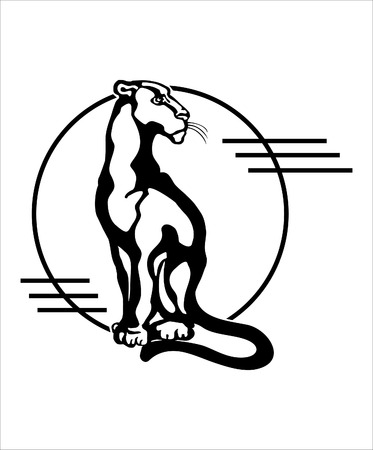 The stylized image of a seated panther, silhouette  Vector