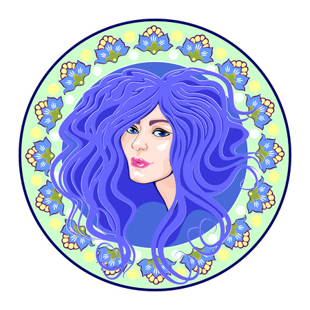 cameo with floral ornament and head girl, blue Vector