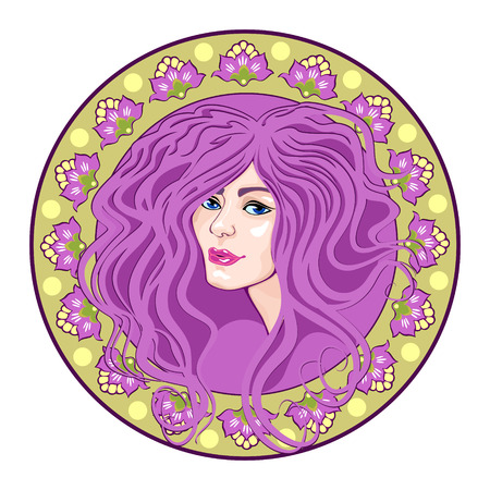 cameo with floral ornament and head girl, purple Vector