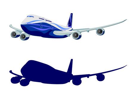 aviones pasajeros: Avi�n de pasajeros, vector, avi�n en el fondo blanco Vectores