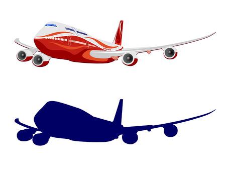 Passagiersvliegtuig, vector, vliegtuig op een witte achtergrond Stock Illustratie
