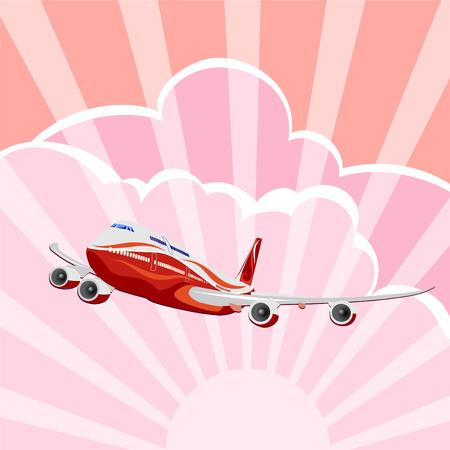 Passagiersvliegtuigen, vector vliegtuig op hemel achtergrond