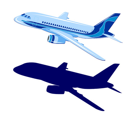 Passenger aircraft, vector, plane on white background