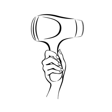 Vector afbeelding van een hand met een föhn Stock Illustratie