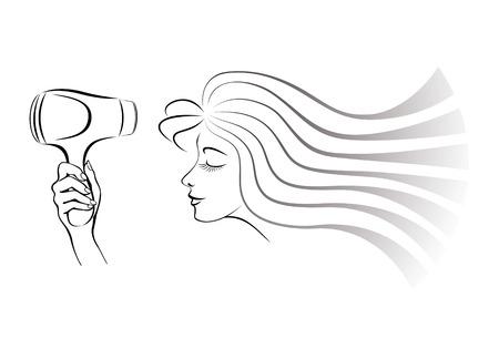 Vector beeld van een mooi jong meisje droogt haar de föhn