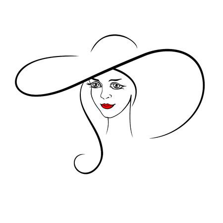 Jong, mooi meisje in een hoed met lang haar