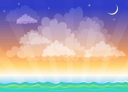 paesaggio mare: Notte stilizzato paesaggio, mare, mare, cielo, la mezzaluna e la stella
