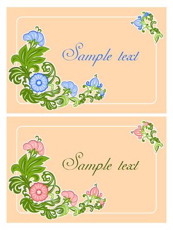 Kleurenkaart met bloemenornament op beige achtergrond Stock Illustratie