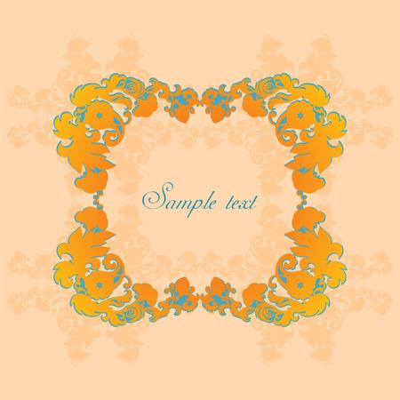 Kleurenvignet met bloemenornament op beige achtergrond