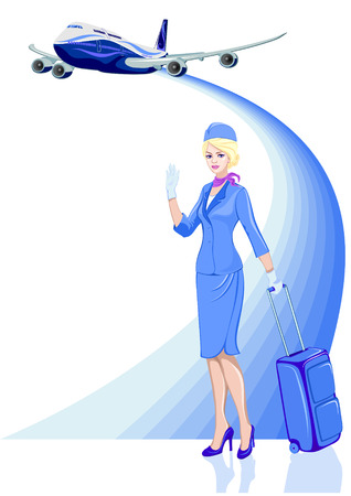 Young beautiful hostess in blue with baggage