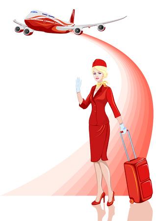 Jonge mooie gastvrouw in het rood met bagage