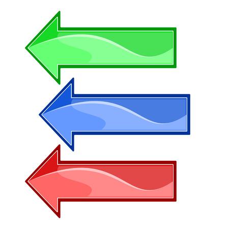 Drie vector pijlen met hoogtepunten op een witte achtergrond, rood, blauw en groen