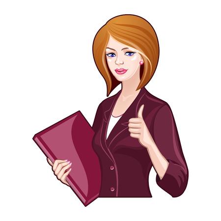Dame met zakelijke map in een bordeaux kostuum, duimen omhoog