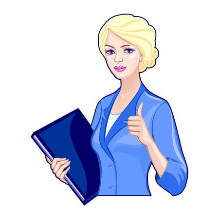 Dame met zakelijke map in een blauw pak, duimen omhoog