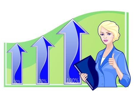 Zakelijke vrouw met een map op de achtergrond van de hitlijsten. Concept van het succes, vooruitgang, business development