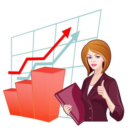 Business vrouw met een map op de achtergrond van de hitlijsten. Concept van het succes, vooruitgang, business development