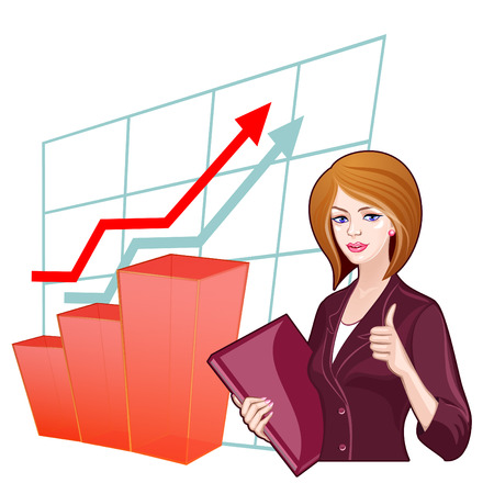 Business woman with a folder on the background of the charts. Concept of success, progress, business development