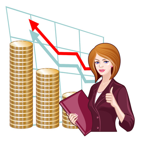 Business woman with a folder on the background of the charts. Concept of success, progress, business development Vector