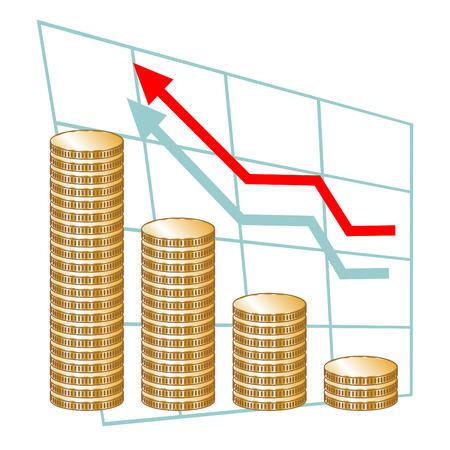 Grafiek met stapels van munten. Concept van het succes, vooruitgang, business development Stock Illustratie