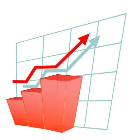 Grafiek met een rode pijl. Concept van het succes, vooruitgang, business development