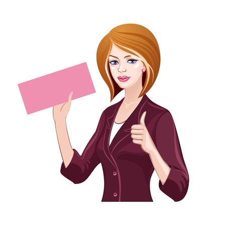 Jong meisje met een ticket, duimen omhoog Stock Illustratie