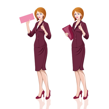 Business lady in bordo suit, thumbs up Vector