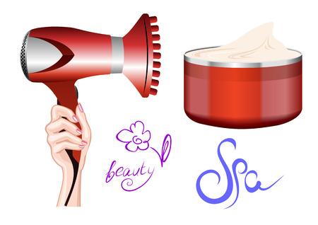 Haardroger in de hand en een potje crème