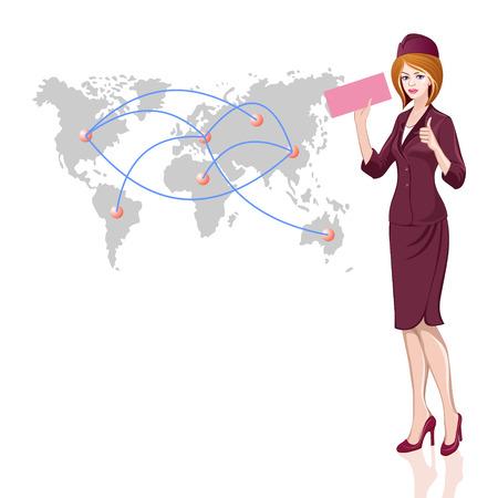 Mooie jonge stewardess met kaartje in de hand op de achtergrond van de wereldkaart