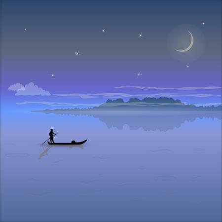 Nacht landschap met lage bergen, mist, sterrenhemel en het silhouet van een schipper