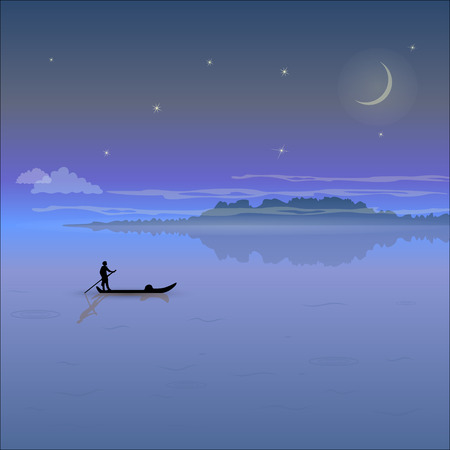boatman: Night landscape with low mountains, fog, starry sky and the silhouette of a boatman