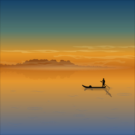 boatman: Landscape with low mountains, fog, sunrise, sunset and silhouette of a boatman