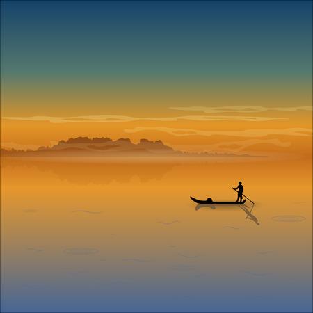 Landschap met lage bergen, mist, zonsopgang, zonsondergang en silhouet van een schipper