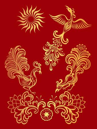 Vector gouden floral ornament met vogels