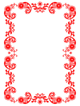 Vector red floral ornament on a white background Vector