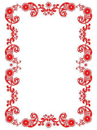 Vector rode bloem versiering op een witte achtergrond