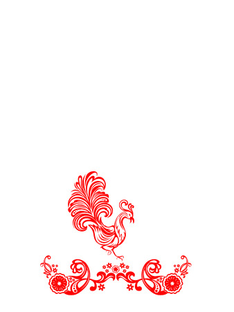 Vector red floral ornament on a white background with birds Vector