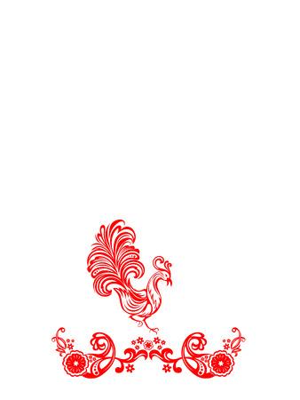 Vector rode bloem versiering op een witte achtergrond met vogels