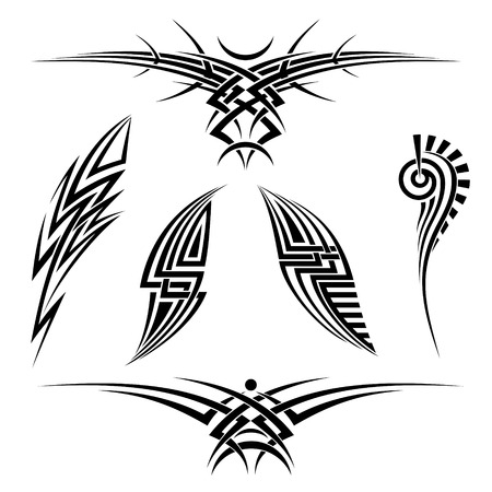 Vector tribal tattoo set of six elements on a white background Vector