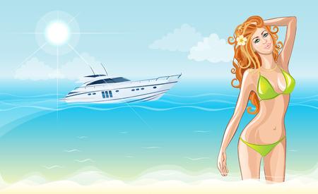 Vector illustratie van een mooie jonge strand meisje in een zwempak op zee en de jacht achtergrond