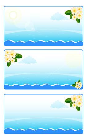 Kaart ontwerp, uitnodiging met bloemen frangipani (plumeria) op de achtergrond van blauwe zee